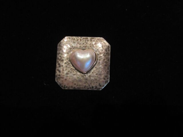 Vintage Buckle Sterling Silver 14K Gold Mother of Pearl Heart Shape Hand Made