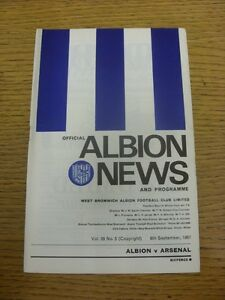 06091967 West Bromwich Albion v Arsenal   Footy ProgsBobfrankandelvis exper - <span itemprop=availableAtOrFrom>Birmingham, United Kingdom</span> - Returns accepted within 30 days after the item is delivered, if goods not as described. Buyer assumes responibilty for return proof of postage and costs. Most purchases from business s - Birmingham, United Kingdom