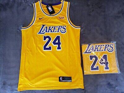 NWT KOBE BRYANT JERSEY XL NEW LA LAKERS #24 GOLD BLACK MAMBA | eBay