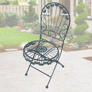 Détails sur Vintage papillon décoration chaise pliante salon meubles de  jardin vert antique