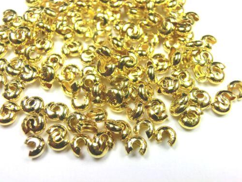 Kaschierperlen 50 unidades quetschperlen capota perlas color oro 4x2mm #s340