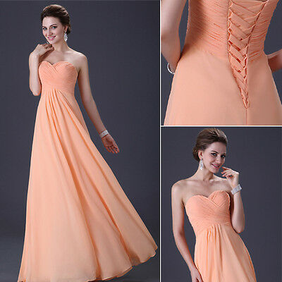 NEW Empire cut Waistline Chiffon Cocktail Strapless Evening Gown Prom Long Dress