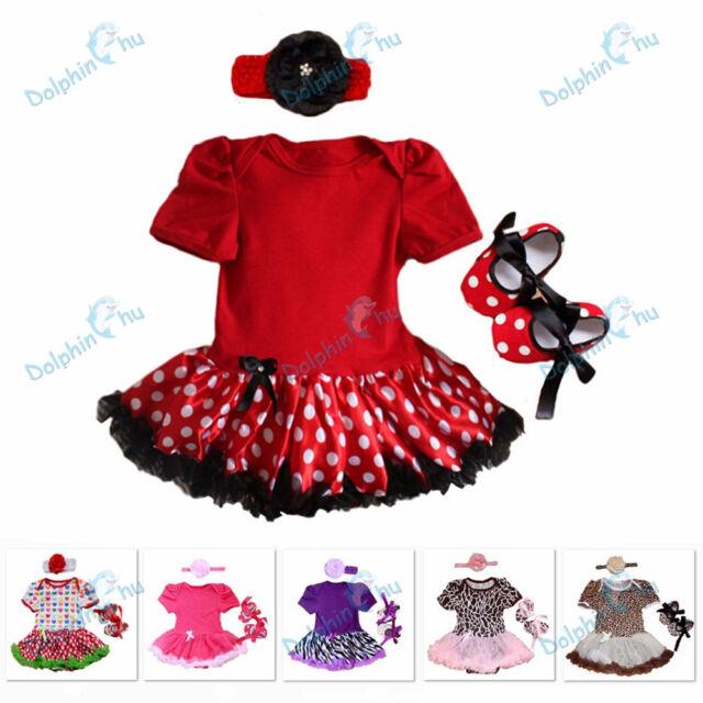 New 3pcs Newborn Infant Baby Girl Headband+Romper+Shoes Dress Clothing 0-9M