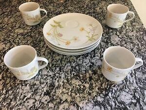 Great-Gift-New-Vintage-Mikasa-China-Porcelain-Dessert-Set-4-Cups-amp-Plates