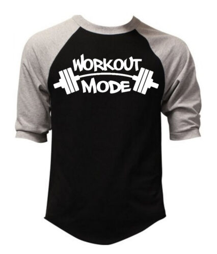 Men/'s Graffiti Workout Mode Black Baseball Raglan T Shirt Muscle Gym Tee V122