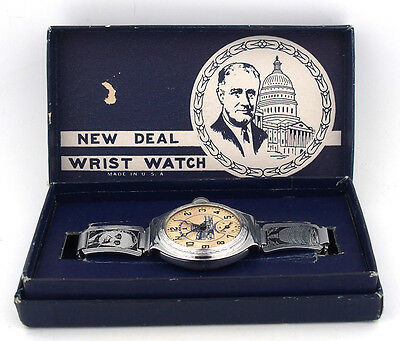 """1935 """"The New Deal"""" F.D.R. Wrist Watch by Ingersoll in Original Box"""