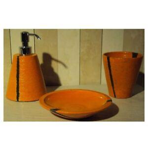 Marmores Accessori Bagno.Dettagli Su Tris Accessori Bagno In Ceramica Arancio Da Appoggio Portaspazzolini Dispenser