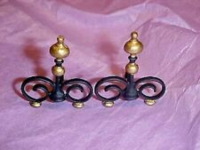 Dollhouse Gilded Black Victorian Metal Andirons  for1:12 Miniature Fireplace