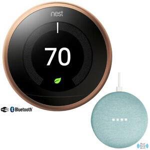 Nest Learning Thermostat (3rd Gen, Copper) with Google Home Mini, Aqua