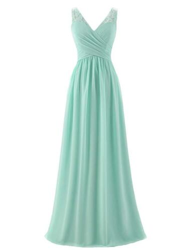 UK Sleeveless A-line V-Neck Chiffon Long Empire Bridesmaid Dresses Simple Prom
