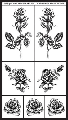 Armour rub rub N etch glass etchg stencils 5 X 8 detailed roses