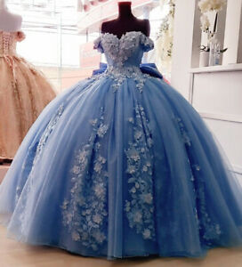 Dusty Blue Quinceanera Dress with 3D Floral Applique Off Shoulder Sweet 16 Gown