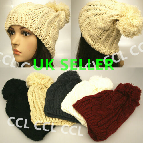 Unisex Mens Womens Winter Warm Knitted Oversized Slouch Bobble Pom Hat Beanie 01