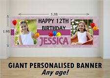 Personalised GIANT Large Happy Birthday Banner Jungle Animals Girls Boys N16