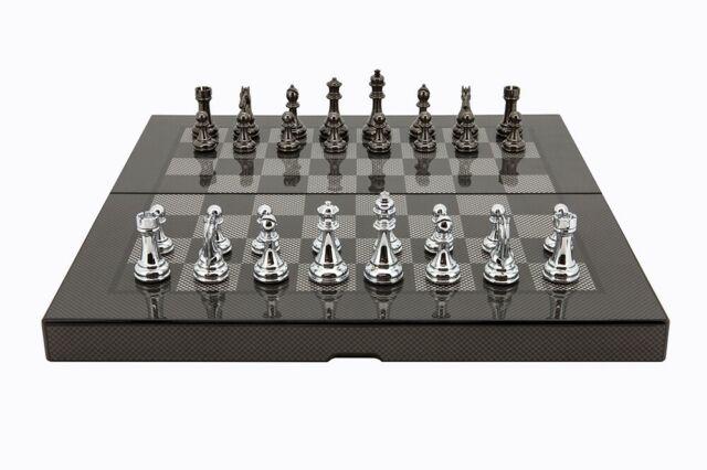 Dal Rossi Carbon Fibre Finish Folding Chess Set 38cm w/ Silver Titanium Pieces