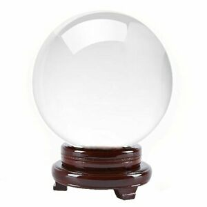 """6 in"""" 150mm Clear Quartz Crystal Ball With Wood Stand -TOP USA SELLER"""
