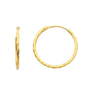 """20mm 10k Yellow Gold 2mm Diamond Cut Hoop Earrings 3//4/"""""""