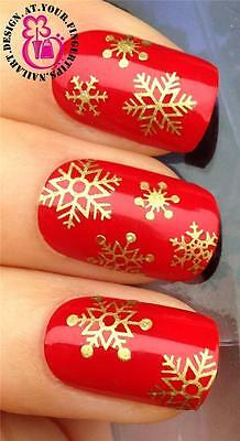 CHRISTMAS NAIL ART STICKERS DECALS TRANSFERS SET XMAS GOLD SNOW SNOWFLAKES #831