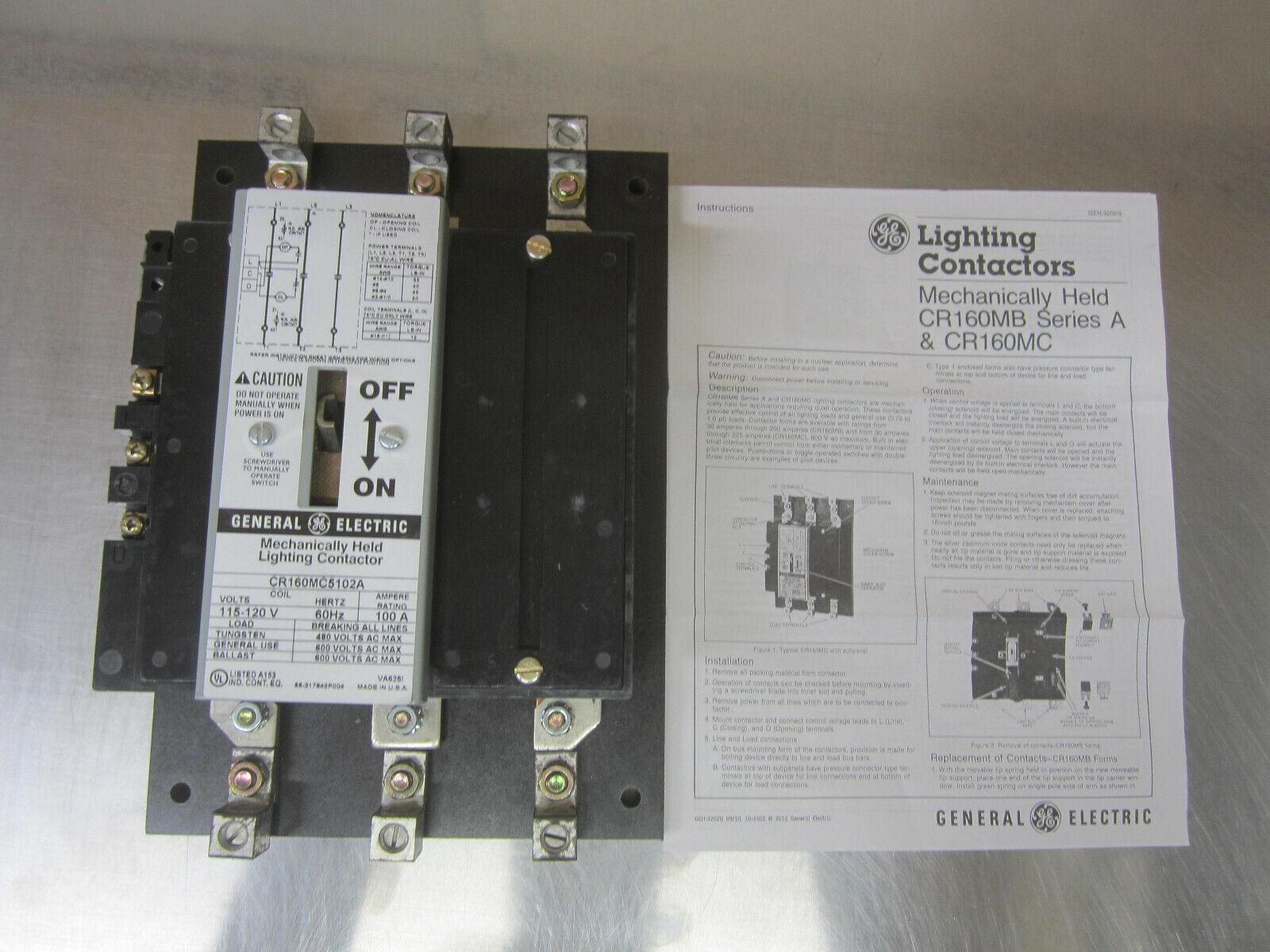 GE Mechanically Held Lighting Contactor 100AMPS CR160MC5H02AABAA 1 YEAR WARRANTY