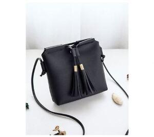 Mini-Korean-Leather-Tassel-Sling-Bag-Black