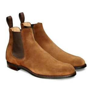 mens handmade boots leather  camel suede ankle chelsea