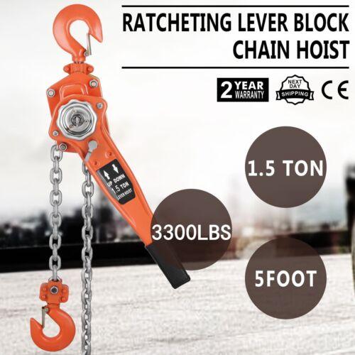 Chain Lever Hoist Come Along Ratchet Lift 1.5 Ton Capacity $0 SHIP 5/',10/',20/' FT
