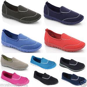 Ladies Womens Girls Pumps Flexi Plimsolls Comfort Walking Sports Trainers Shoes