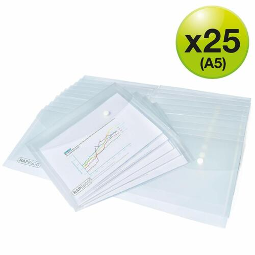 Pack of 25 Clear Transparent Rapesco 1500 A5 Plastic Popper Wallet