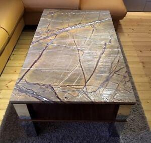 Tischplatte-Marmor-antik-gebuerstet-Naturstein-braun-f-Couchtisch-Kommode-Ablage