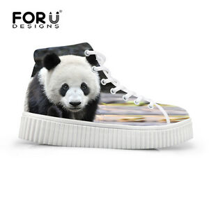 Animal-Cat-Panda-High-Top-Sneakers-Women-Flat-Platform-Shoes-Casual-Ankle-Boots