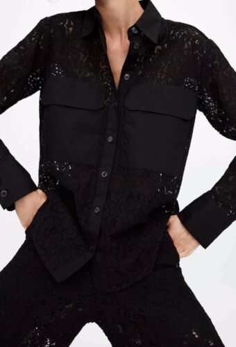 Retailed for $69.99 +tax NWT  Zara Black Lace Shirt with Pockets