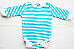 BABY-BODYSUIT-0-24m-FULL-SLEEVE-SHOULDER-POPPERS-100-COTT-TURQ-BLUE-STRIPES