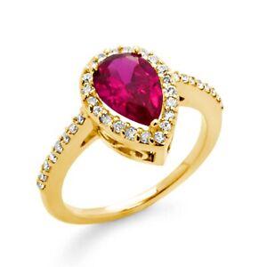 1-70-Ct-Pear-Ruby-Round-Diamond-Engagement-Anniversary-Ring-14k-Gold-Yellow