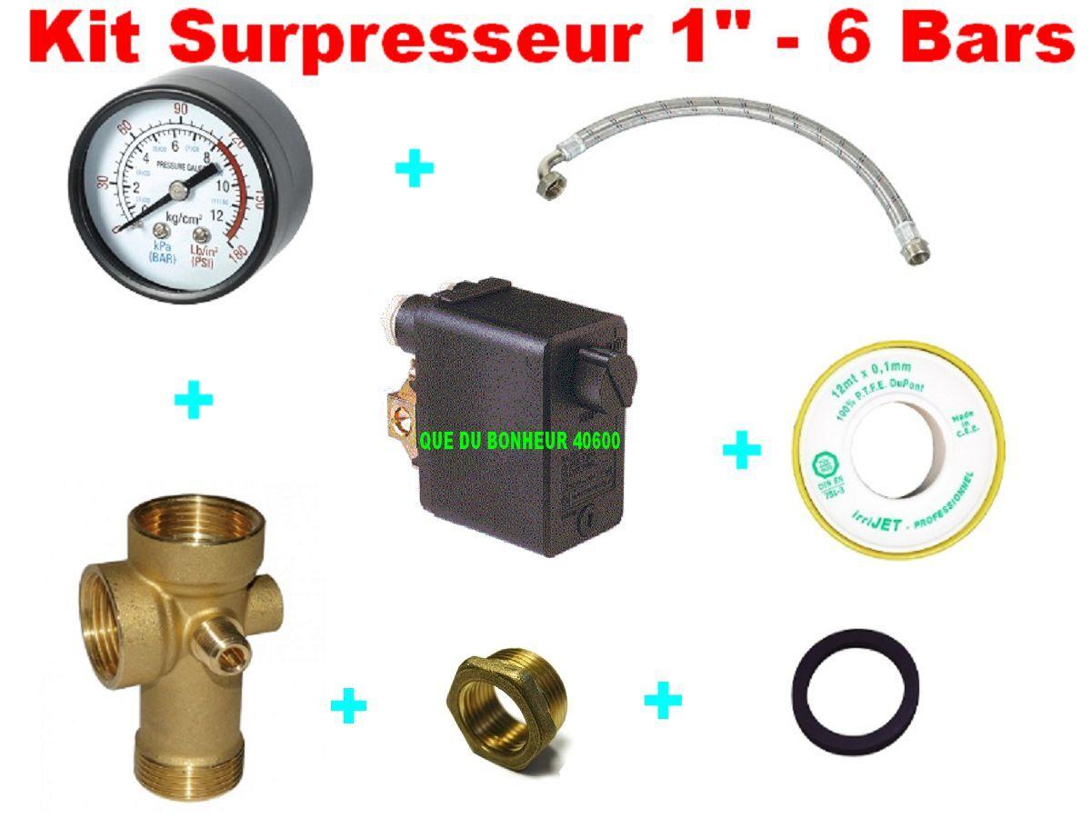 Kit Pressostat 6 B Télémécanique+ Manomètre + Flexible70cm+5 voies+Téflon+joint
