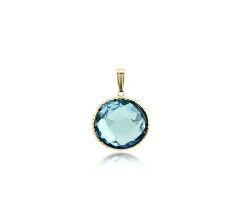 14K Yellow Gold Handmade Solitaire Gemstone Pendant With A 12 MM Blue Topaz