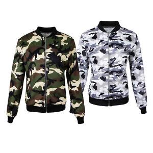 3390ea06bf50d NEW Women's Camo Zip up Bomber Army Jacket Ladies Lightweight Coat ...