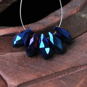 50pcs-12x6mm-Teardrop-Pendant-Faceted-Crystal-Glass-Loose-Beads-Metal-Blue