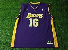 LOS ANGELES LAKERS USA # 16 GASOL BASKETBALL NBA SHIRT JERSEY ADIDAS ORIGINAL