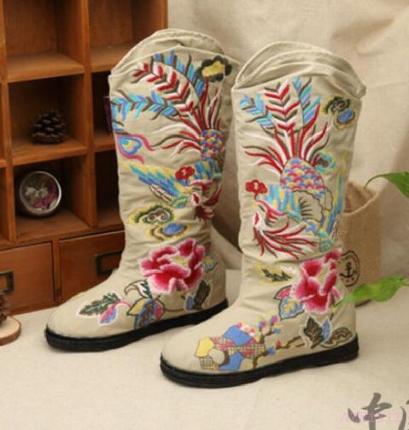 New Chinese Ethnic Style Women Shoe Rivet Mid-Calf Boot Floral Embroider Phoenix