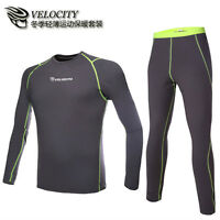 Mens Thermal Compression Baselayer Winter Under Wear Long Sleeve Shirts+pants C1