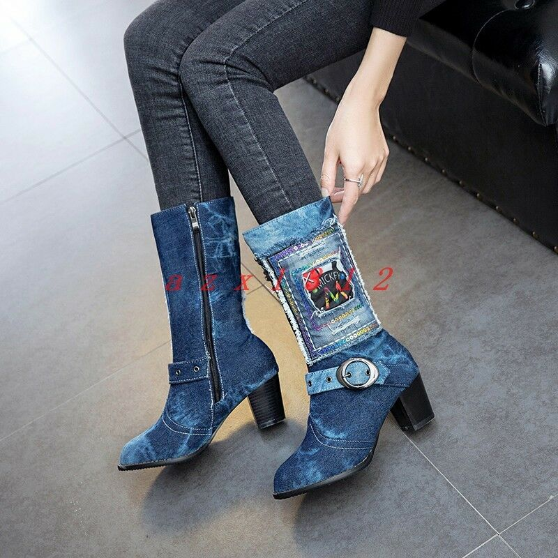 Womens Round Toe High Block heel Zip Knee Boot SHoe Denim Buckle Denim Party