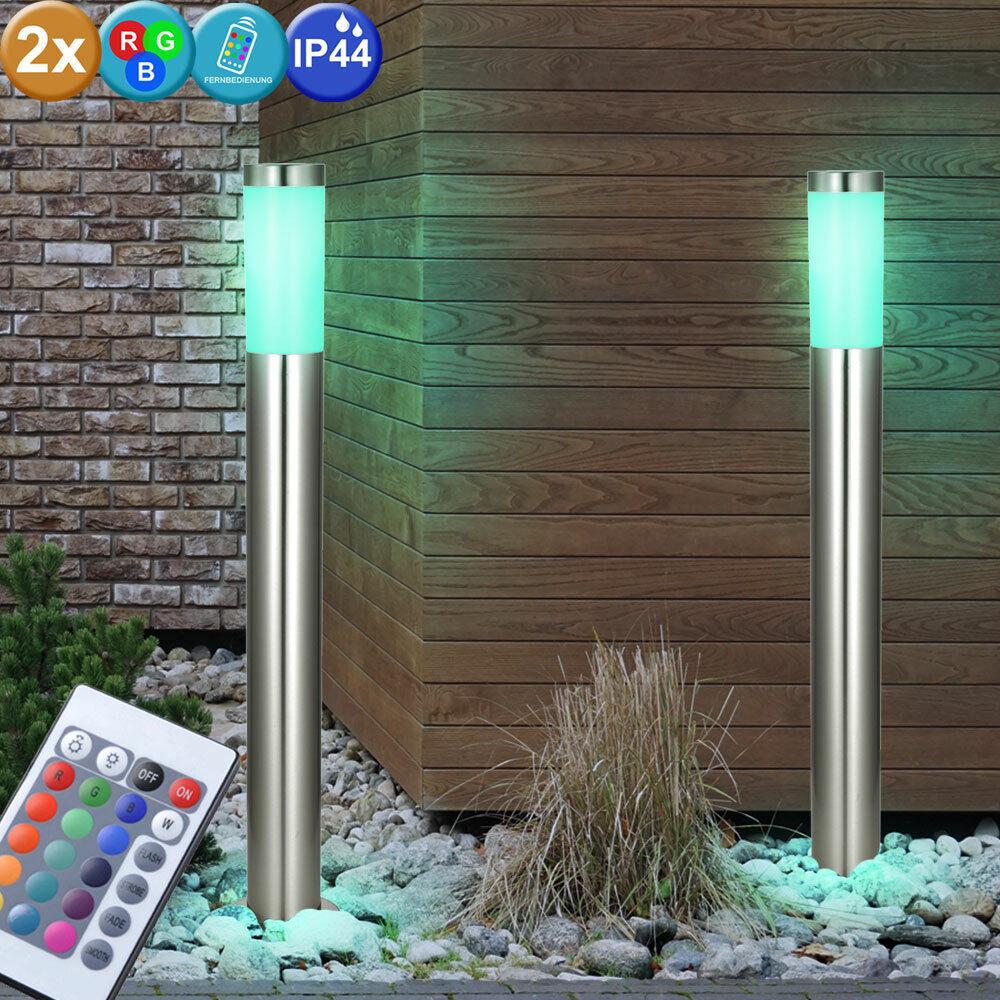 2er set RGB LED de acero inoxidable exterior luces regulable pie lámparas control remoto Eek a