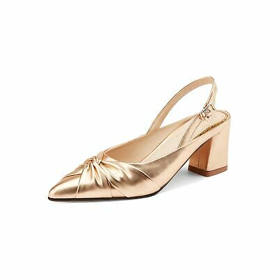 9.5 Gold faux leather block heel sandals sz