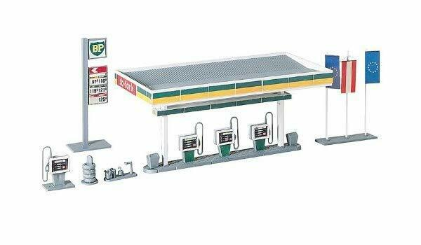 Faller 130346 Covered Petrol Pumps & Signs - 2 Colour Plastic Kit  Ho Scale NEW