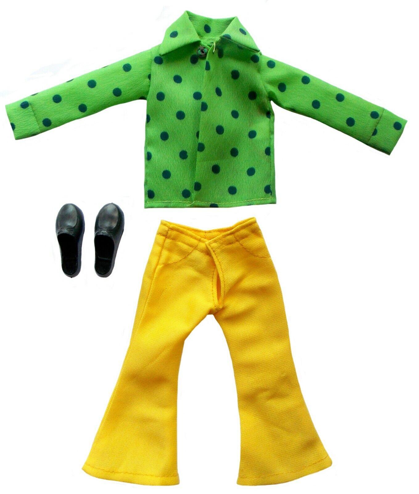 1970 Broadway Joe Namath 12  Mego Fútbol Muñeca -- verde Camiseta y pantalones de Color amarillo
