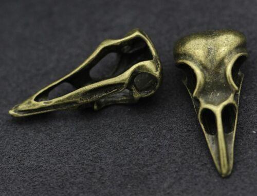 Antique Silver Vintage Vulture Bird Dinosaur Skull Head Charms DIY Pendant H