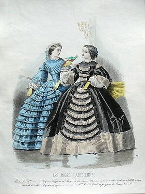 LES MODES PARISIENNE, PARIS FASHION plate 845 antique hand coloured print 1859