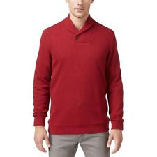 New Mens Tasso Elba Holiday Red Shawl Collar Ribbed Knit Pullover Sweater XL