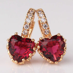 REAL-18CT-Gold-filled-Ruby-Red-Heart-Earrings-for-Mum-Sister-Birthday-Gift