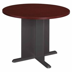 Image Is Loading Bush Round Conference Table Mahogany Top And Edge